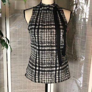 Merona NWOT sleeveless blouse black/white print
